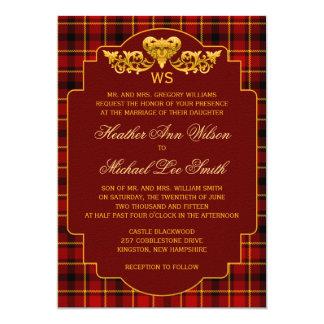 Tartan Wedding Red Black Gold Plaid Pattern Colors Card
