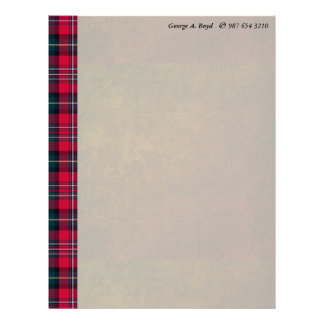 Tartan with your Name & Phone # Letterhead