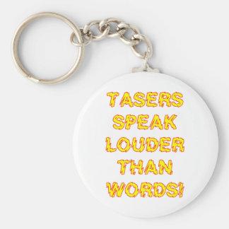 Tasers speak louder than words basic round button keychain