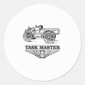 task master truck round sticker