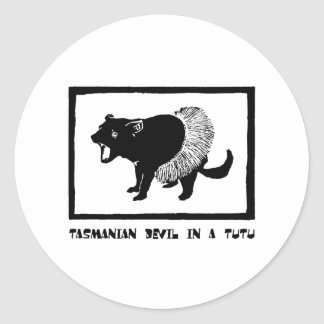 Tasmanian Devil in a Tutu Classic Round Sticker