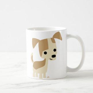 Tasse curieuse de bande dessinée de petit chien