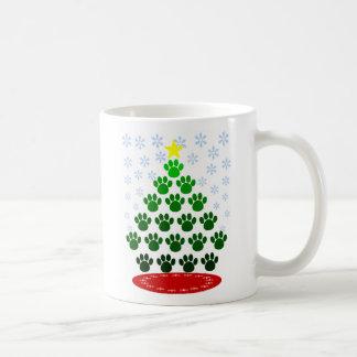 Tasse d'arbre de Noël d'empreintes de pattes