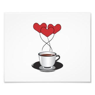 Tasse de café, ballons, coeurs - noir blanc rouge  tirage photo