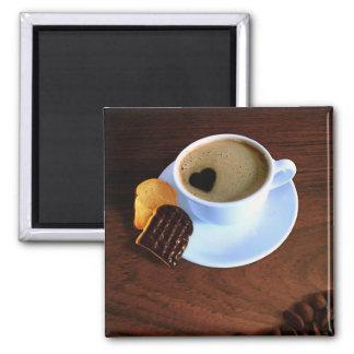 Tasse de café de coeur - aimant carré