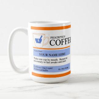 Tasse de café faite sur commande de prescription
