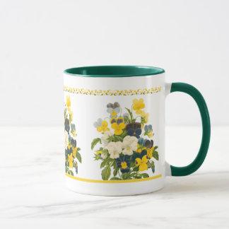 Tasse de café florale botanique d'art de pensée