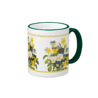 Tasse de café florale botanique d'art de pensée vi