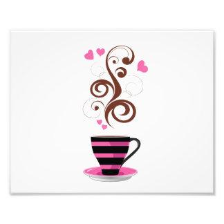 Tasse de café remous coeurs - Brown noir rose