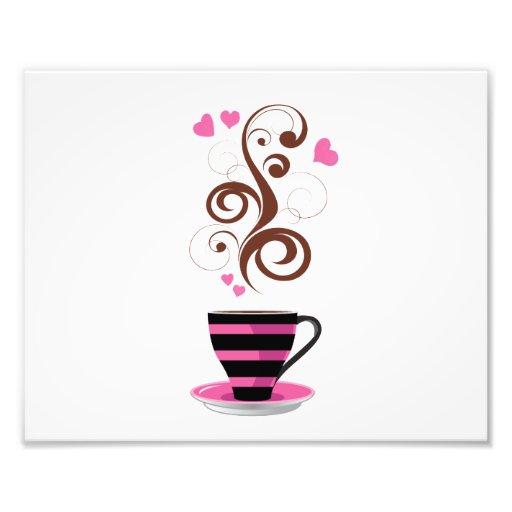 Tasse de café, remous, coeurs - Brown noir rose Photos D'art