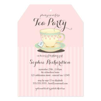 Tasse de thé chic sur le thé rose d'anniversaire carton d'invitation  12,7 cm x 17,78 cm