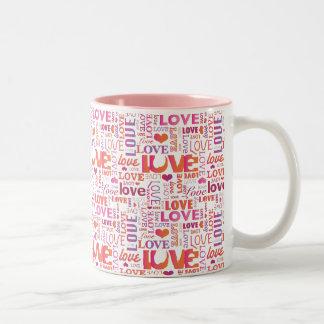 Tasse de valentines de passion de typographie d'am