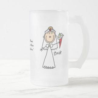 Tasse en verre personnalisable de jeune mariée