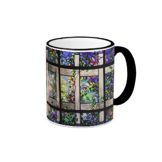 Tasse en verre souillé de Tiffany de jardin