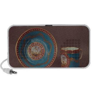 Tasse et soucoupe de café de celeste de bleu de Se Haut-parleur iPod