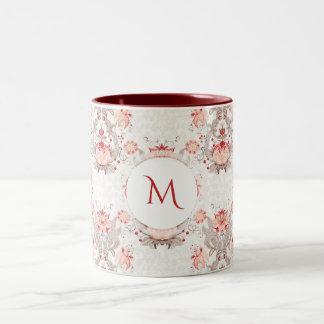 Tasse florale vintage de monogramme de damassé de