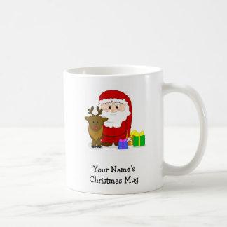 Tasse personnalisée de Noël - Père Noël et renne