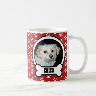 Tasse rouge de photo d'animal familier mug blanc