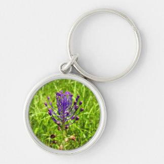 Tassel-Hyacinth Key Ring Silver-Colored Round Keychain