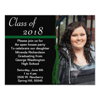Tassel Photo Graduation Party Green and Black 4.25x5.5 Paper Invitation Card