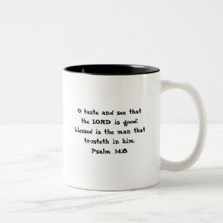 Taste and See Psalm 34:8 Two-Tone Coffee Mug