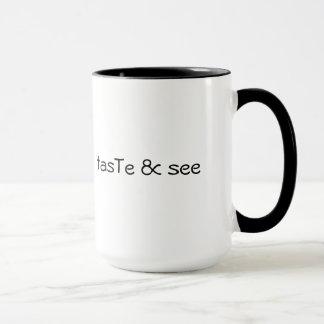 tasTe & see - black rim mug