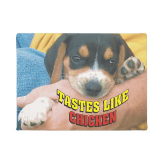 Tastes Like Chicken Beagle Pup Door Mat