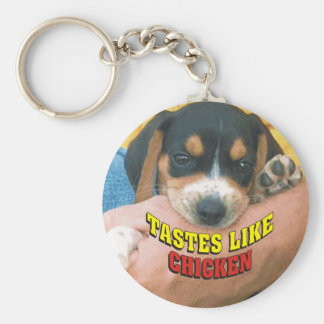 Tastes Like Chicken Beagle Puppy Basic Round Button Keychain