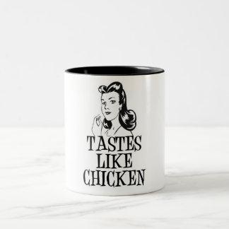 Tastes Like Chicken Retro Lady Mugs