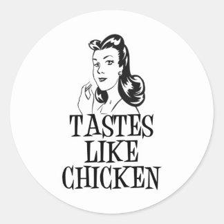 Tastes Like Chicken Retro Lady Round Sticker