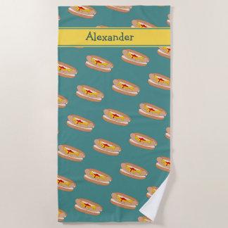 Tasty Hot Dog Cartoon Food - Your Name on a Beach Towel