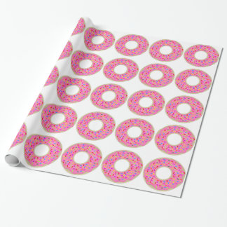 Tasty Novelty Pink Donuts Wrapping Paper