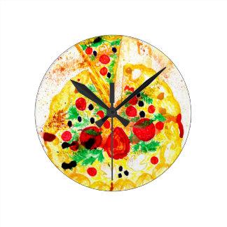 Tasty Pizza Round Clock