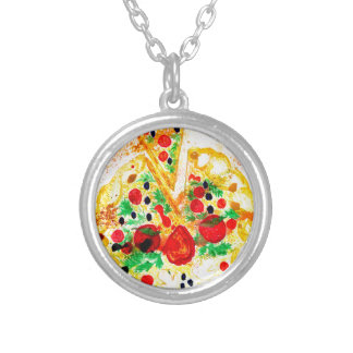 Tasty Pizza Silver Plated Necklace