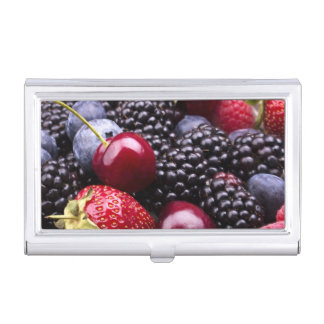 Tasty Summer Fruits On A Wooden Table Business Card Cases
