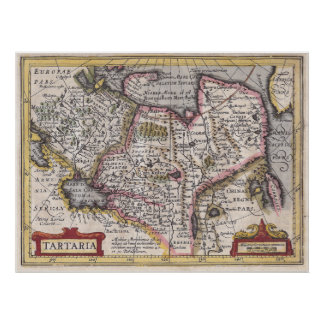 Tatary Antique Map of Central & Northern Asia Poster