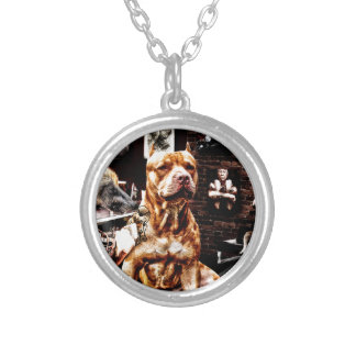 Tatoo dog silver plated necklace