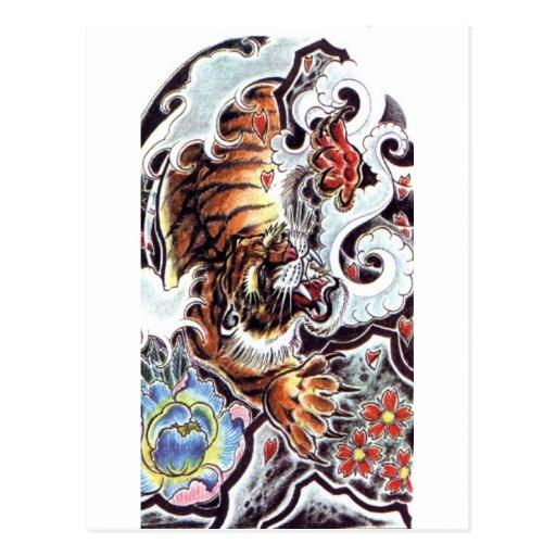 Tatouage japonais de tigre carte postale zazzle - Tatouage tigre japonais ...
