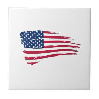 Tattered American Flag Ceramic Tile
