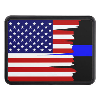 Tattered American Flag Thin Blue Line Hitch Trailer Hitch Cover