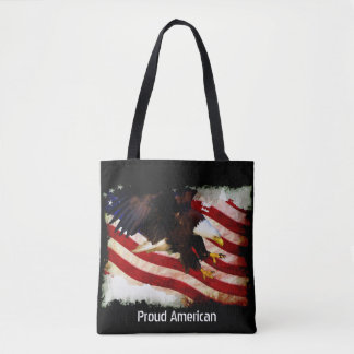 Tattered Grunge  USA Flag & Bald Eagle Tote Bag