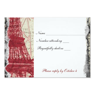 Tattered Red Paris Eiffel Tower rsvp with envelope Card