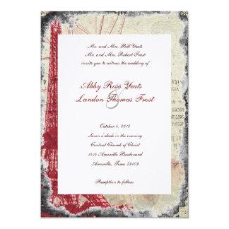 Tattered Red Paris Eiffel Tower Wedding Invitation