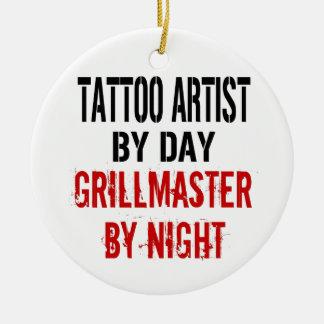 Tattoo Artist Grillmaster Round Ceramic Ornament