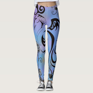 tattoo bird floral purple and blue leggings