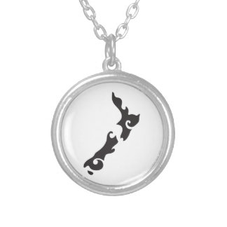 Tattoo Black version of a New Zealand map Silver Plated Necklace