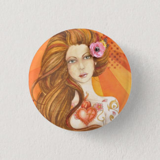 Tattoo Chick Flare Jamie Dougherty Designs 1 Inch Round Button