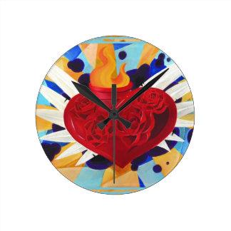Tattoo Graffitti Style Sacred Heart Wall Clocks