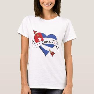 Tattoo Heart and Arrow with Cuban Flag T-Shirt