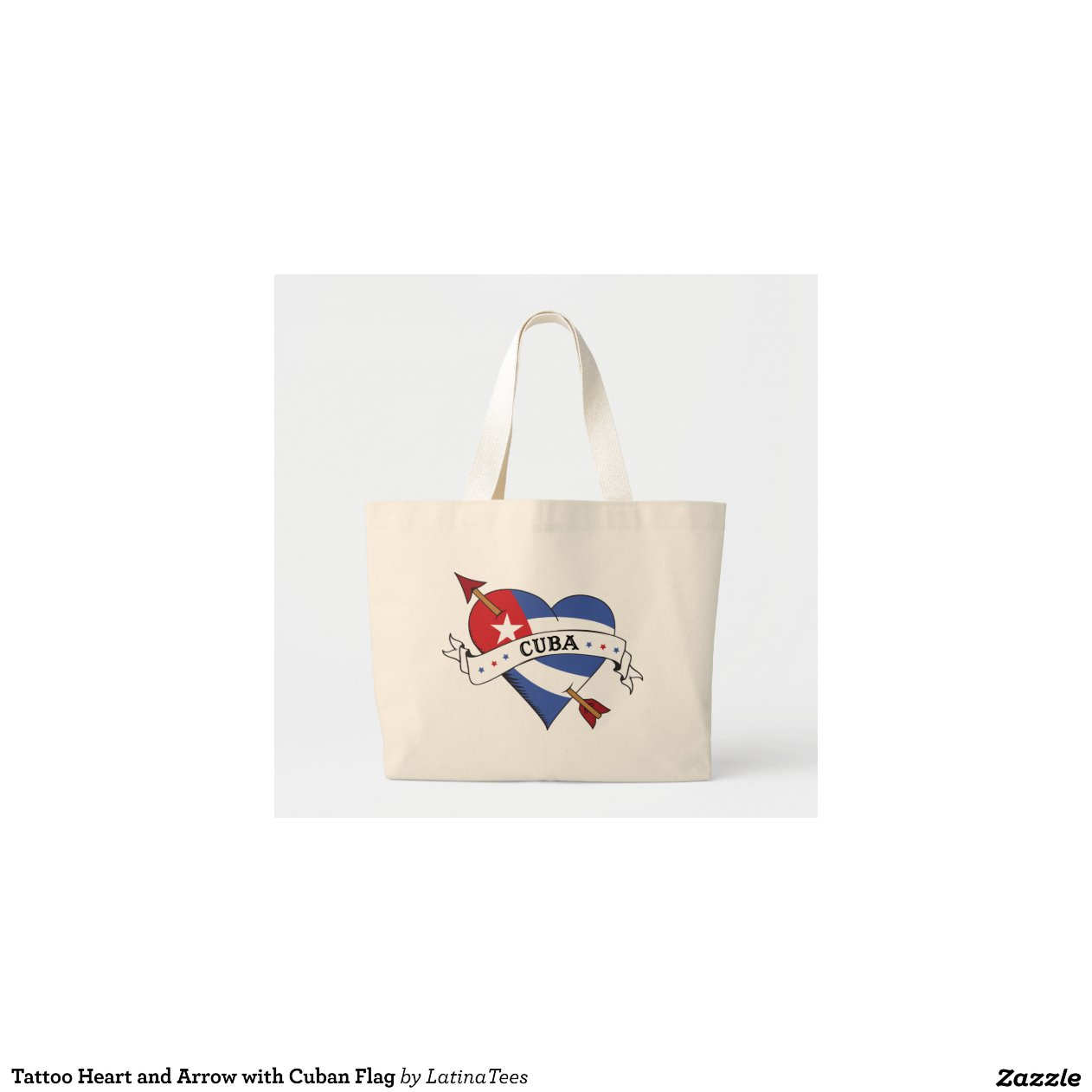 tattoo heart and arrow with cuban flag tote bag zazzle. Black Bedroom Furniture Sets. Home Design Ideas